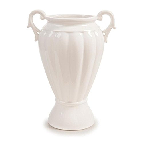 White Ceramic Vase with Handles: Traditional Shabby Chic Unique Home Decor Accent