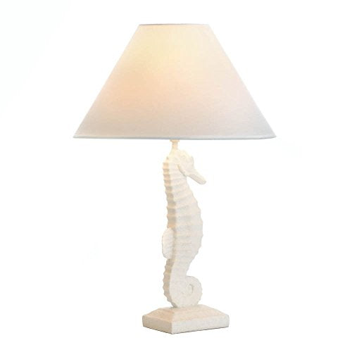 White Seashore Lamp Shabby Chic Seascape Beach House White Shade Home Decor Accent Nite Light Sale