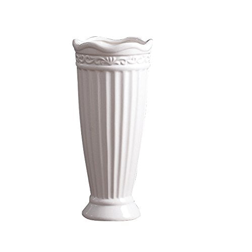 Jomop Modern White Ceramic Roman White Column Greco  Bottle Vases Home Decor Accent