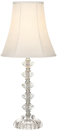 Bohemian Clear Stacked Glass Table Lamp Shabby Chic Elegant SoHo Accent Shade Home Decor