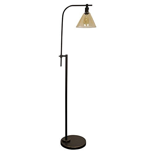 Bronze Adjustable Industrial-style Floor Reading Lamp with Glass Shade Home Decor Accent Sale