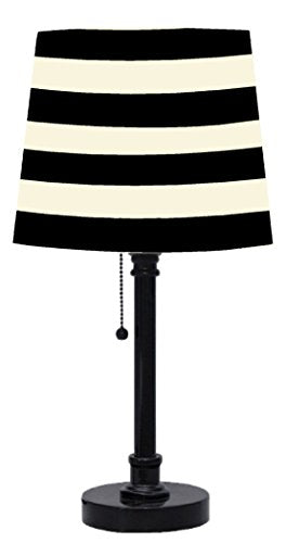 Urban Industrial Shop Black White Striped Shade Lamp Black Base Trending Home Decor Accent Sale