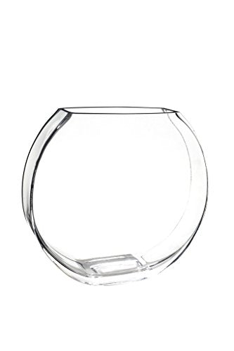 Flower Glass Vase Decorative Centerpiece For Home or Wedding by Royal Imports - Flat Fishbowl Shape, 7.5