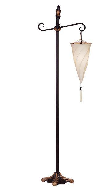 Glass Spiral Hanging Floor Lamp Scroll Metal Stand