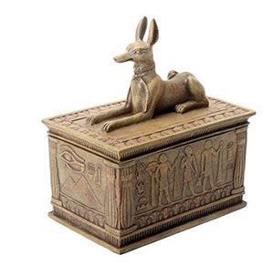 Colored Sandstone  Anubis Jackal Box Egyptian Detail Bottom Design Treasure Keepsake Home Accent