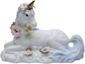 White Unicorn Patel Colors Flowers Sitting Figurine Fantasy Accent