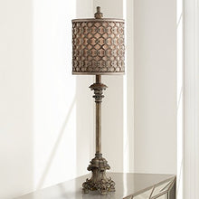 "French Candlestick Metal Frame Shade 34"" High Buffet Lamp Scrolled Footing Carved Swirls Accent"
