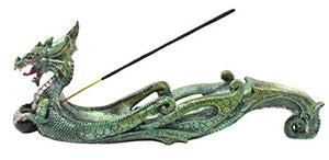 Green Resin Sea Dragon Incense Burner Holder prosperity Strength Protection Feng Shui Home Accent