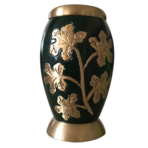 Ivy Leaves Green Color Keepsake Urn Bronze Home Accent Decor