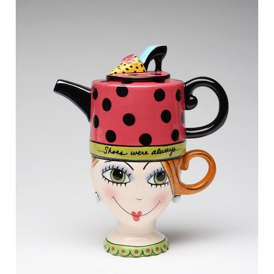 Colorful Lady.Stacked  Teapot Cup Fun Whimsical Collectable Character Figurine Home Decor Accent