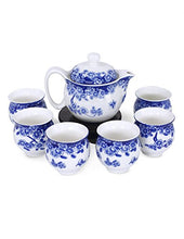 Dahlia Porcelain Butterfly Floral Tea Set Infuser Blue White Tea Cups Gift Box Home Decor Accent