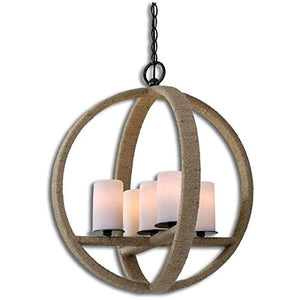 Round 5 Light Pendant Patina stained wrapped rope aged details glass faux candles  Decor Accent