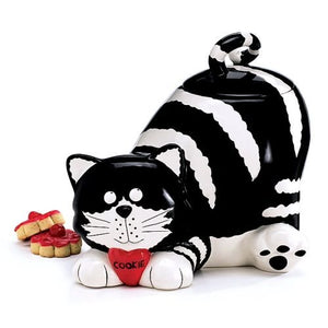 The Cheshire Cat/Kitty Black White Cookie Jar Food Container Trinket Home Decor Accent