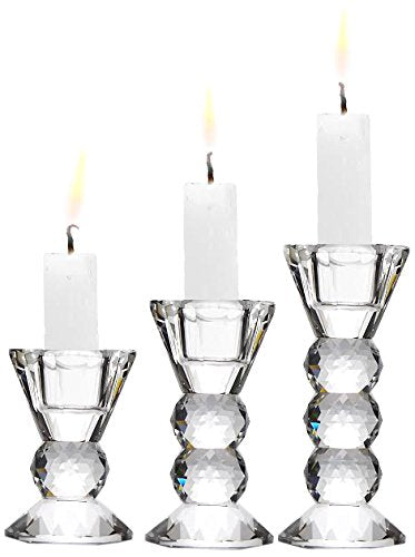 Fifth Avenue Helios Candle Holders stacked Heavy Glass Orbs hold Crystal Saucer Home Decor Accent