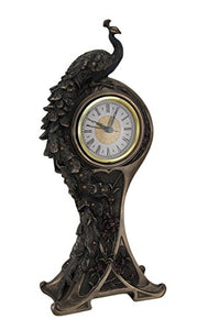 Mantel Clock Art Nouveau Style Bronze Finish Peacock Mantel Accent