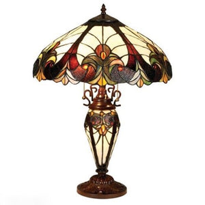 "Lamp Stained Cut Glass Tiffany Art Glass Handcrafted 25""H Bronze Base Home Decor Accent Sale"
