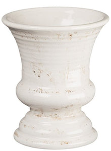 Distressed Vintage  White Ceramic Urn Vase Stylish Vase Display Shabby Chic Home Decor Accent