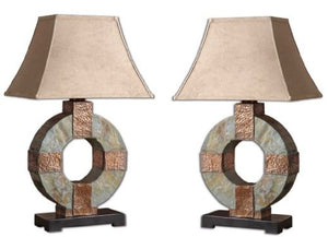Contemporary Art Deco Circle Slate Stone Hammered Textured Copper Geometric Lamp Accent