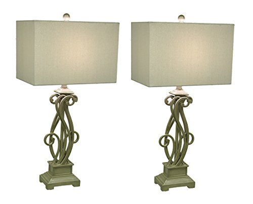 Iron Scrolled  Design Gold Finish Lamps Set Of 2 Champagne Finish Metal Lamps W/Fabric Shade