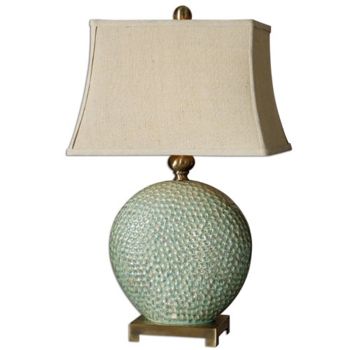 Uttermost Pitted Ceramic Base  Lamp Aquamarine Glaze Tan Undertones Bronze Metal Accent Home