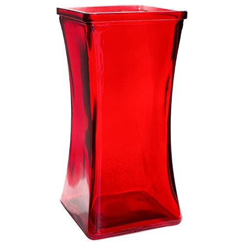 Modern Heavy Art Glass Red Flower Long Stem Rose Vase Decorative Home Decor Accent