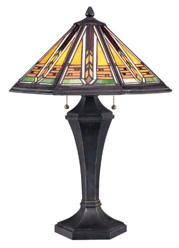 Quoizel  Tiffany Hogan Mission Frank Lloyd Wright Style Geometric Stained Glass Lamp Accent Home