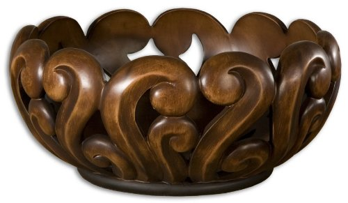 Merida Wood Tone Resin Carved Bowl Vase Home Decor Ornate bowl features open design Accent Sale