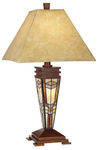 Tiffany Style Art Glass Mission Geometric Design Base  Night Light Table Lamp Fabric Shade