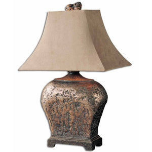Uttermost Xandern Hand Applied Silver Leaf Textured Finish Brown Glaze Antiquing Lamp Home Accent