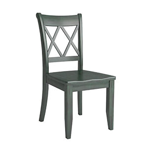 Dining Room Side Chair - Wood Seat - Set of 2 - Antique Blue