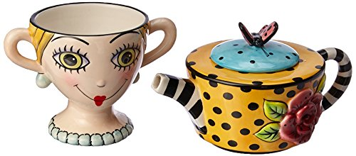 Lady Lux Tea One Set Stacked Cup Teapot Rests  Colorful Fun Whimsy Collectable Home Decor Accent