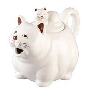Fat Cat Teapot White Kitty Character Collectable Character Hand Painted Whimsical Home Decor Accent