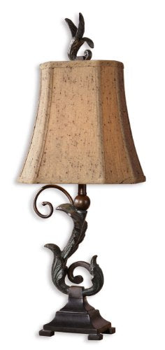 Uttermost Caperana Black Buffet Lamps Set/2 Matte Black Finish Heavy Leaf Details Bronze Accent Home