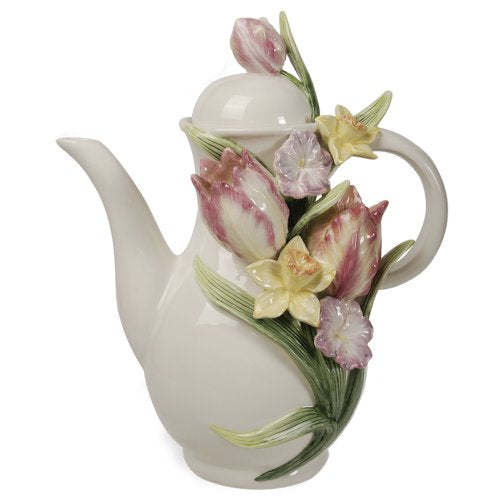 Tulip Teapot Whimsical Ceramic Flowers Iris 3D Collectable Figurine Home Decor Accent