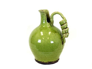 Tuscany Country Green Glazed Handmade Ceramic Vase  Accent