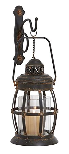 Rustic Retro Lantern Lamp Decor Sconce Antique Metal Glass Wall Sconce Home Decor Accent