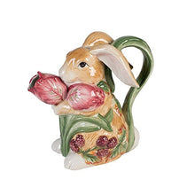 Blackberry Rabbit Pitcher, Brown Spring Berries Tulips Flowers Collectable Home Decor Accent
