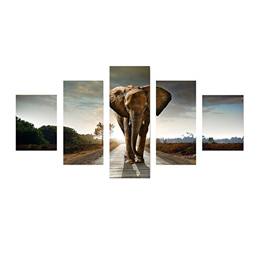 Elephant Largev5 Panels Modern Stretched Canvas Prints Animals Landscape Africa Wall Art Home Accent