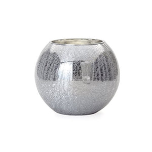 Crackle Mirror Sphere Vase Candle Holder Medium Modern Finish Home Decor Accent