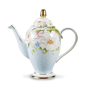 "Soft Patel Flowers Roses Bone China 9.5"" Ceramic Teapot Coffee Pot Collectable Home Decor Accent"