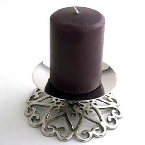 "Nickel Pillar Holder. 3"" or 4"" Pillar Candle Holder. Scrolled Heart Base Saucer Home Decor Accent"