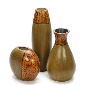 Elegant Expressions Hosley's Set of 3 Natural Multi Color Burlwood Vases Home Table Decor Accent