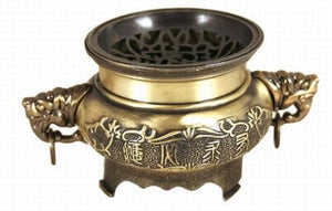 Vintage Style Unique Brass Bronze Feng Shui incense Burner Elephant Handles Large Vase Home Accent