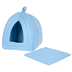 PETMAKER Cozy Kitty Tent Igloo Plush Cat Bed - Blue