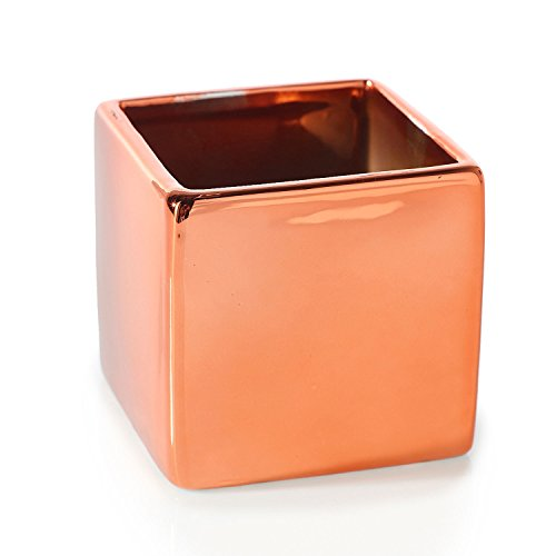 Metallic Copper Square High Gloss Ceramic Urban Vase (Set of 2) Home Decor Accent