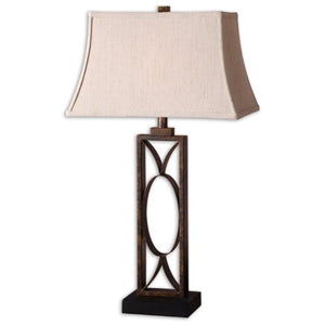 Uttermost Manicopa Dark Bronze Geometric Metal Open Design Ivory Fabric Shade Lamp Home Accent