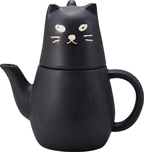 Stacked Cat  Tea Pot Cup Black Cute Collectable Face Whimsical Fun Home Decor Accent