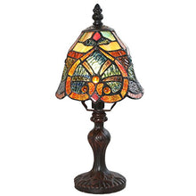 Tiffany Style Red Yellow Glass Shade Stained Glass Lamp Floral Flower Dark Base Cast Decor Accent