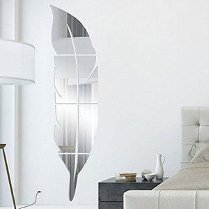 Large Removable Feather Mirror Wall Silver Art Vinyl Home Nature Element Home Decor Accent