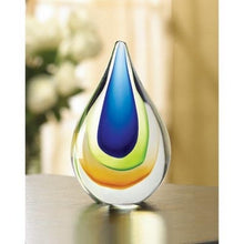 Decor Art Glass Colored Decorative Table Top Teardrop Decor Sapphire Peridot and Amber Vase